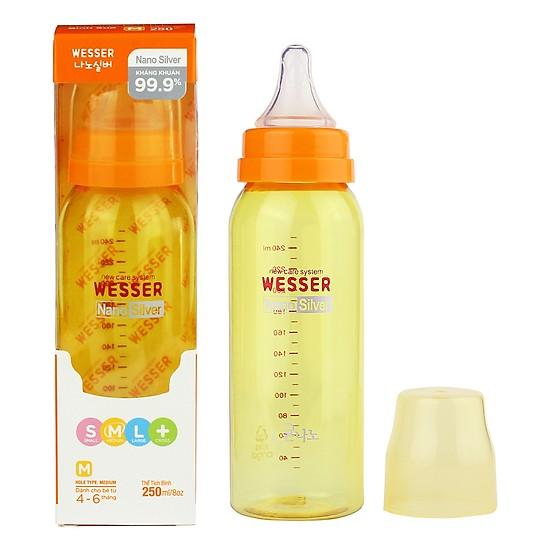 Bình sữa cho trẻ Wesser Nano Silver Cổ Hẹp 250ml